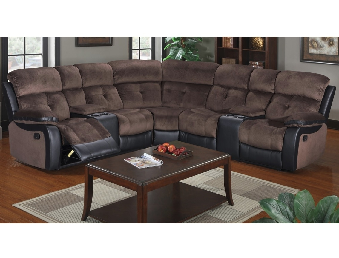 Chocolate Microfiber Sectional W/ Cup Holders & 2 Recliners - Casye regarding Tess 2 Piece Power Reclining Sectionals With Laf Chaise (Image 5 of 30)