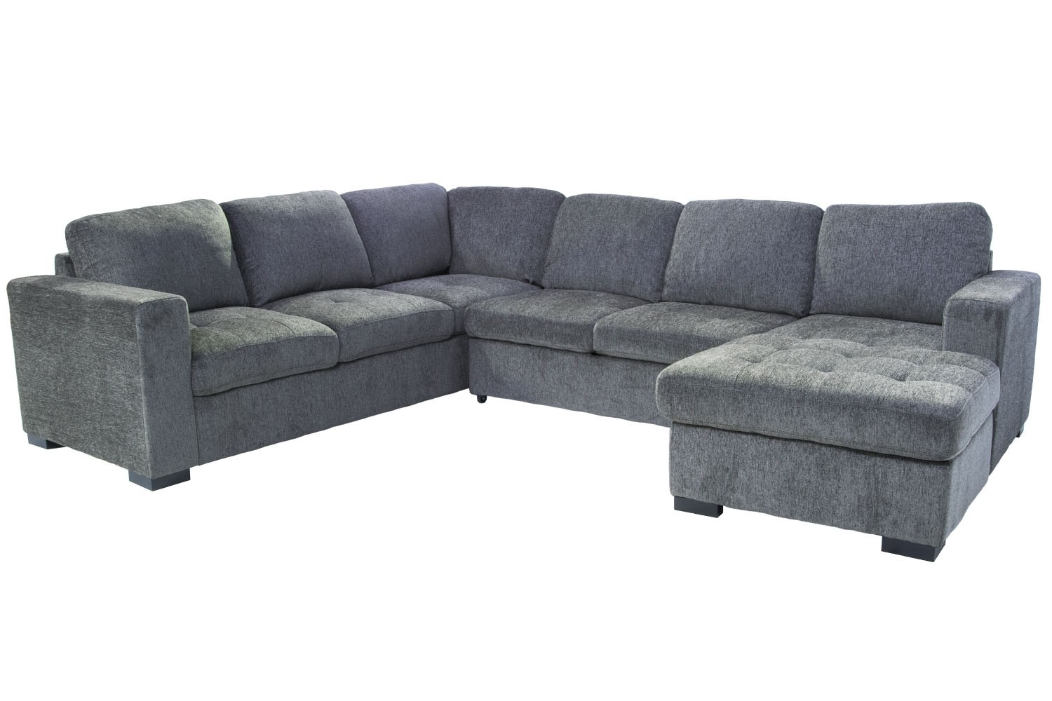 Claire 3-Piece Right-Facing Chaise Sectional In Gray | Save Mor throughout Aquarius Light Grey 2 Piece Sectionals With Laf Chaise (Image 12 of 30)