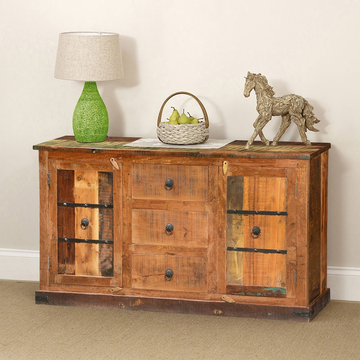 Classic Country Rustic Reclaimed Wood 3 Drawer Sideboard Cabinet with regard to Starburst 3 Door Sideboards (Image 7 of 30)
