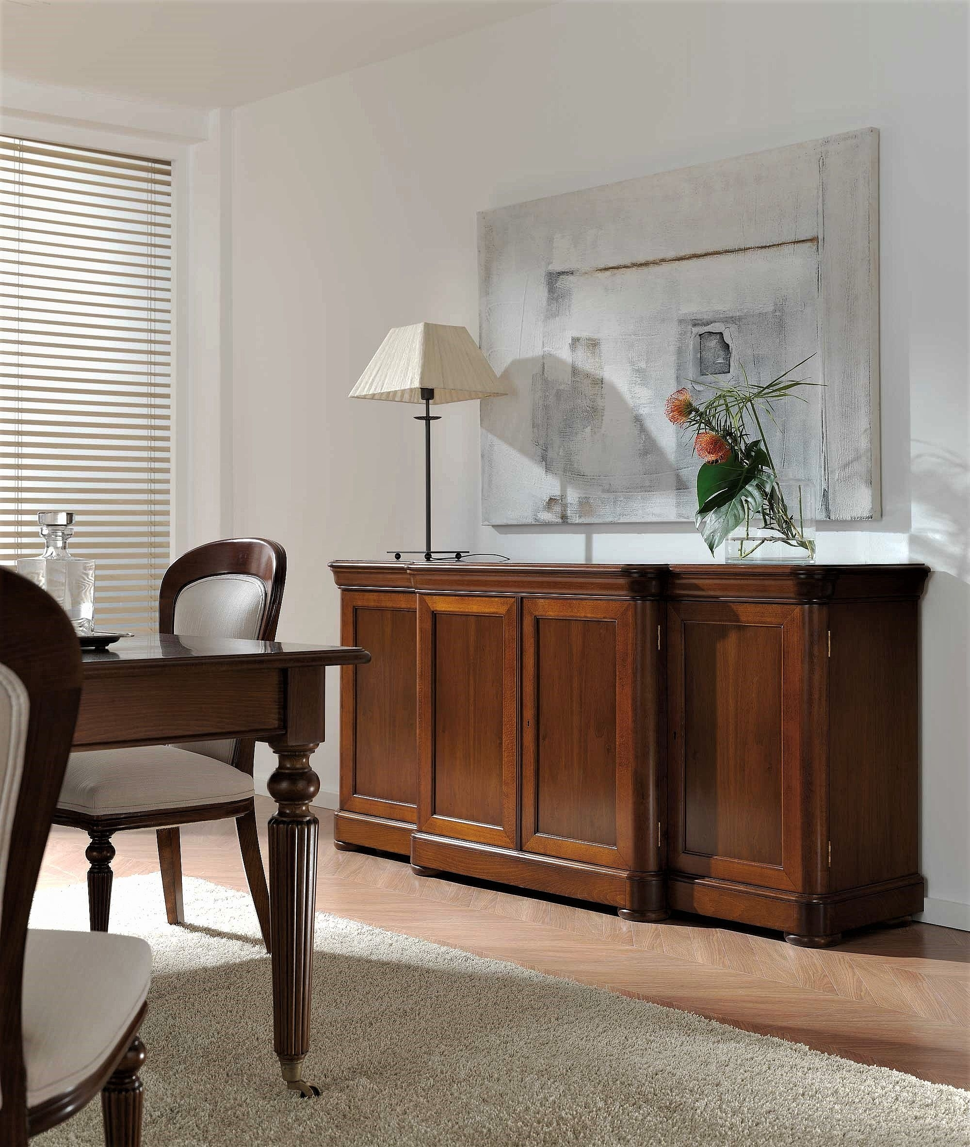 Classic Sideboard With Doors And Drawers in Walnut Finish Crown Moulding Sideboards (Image 14 of 30)