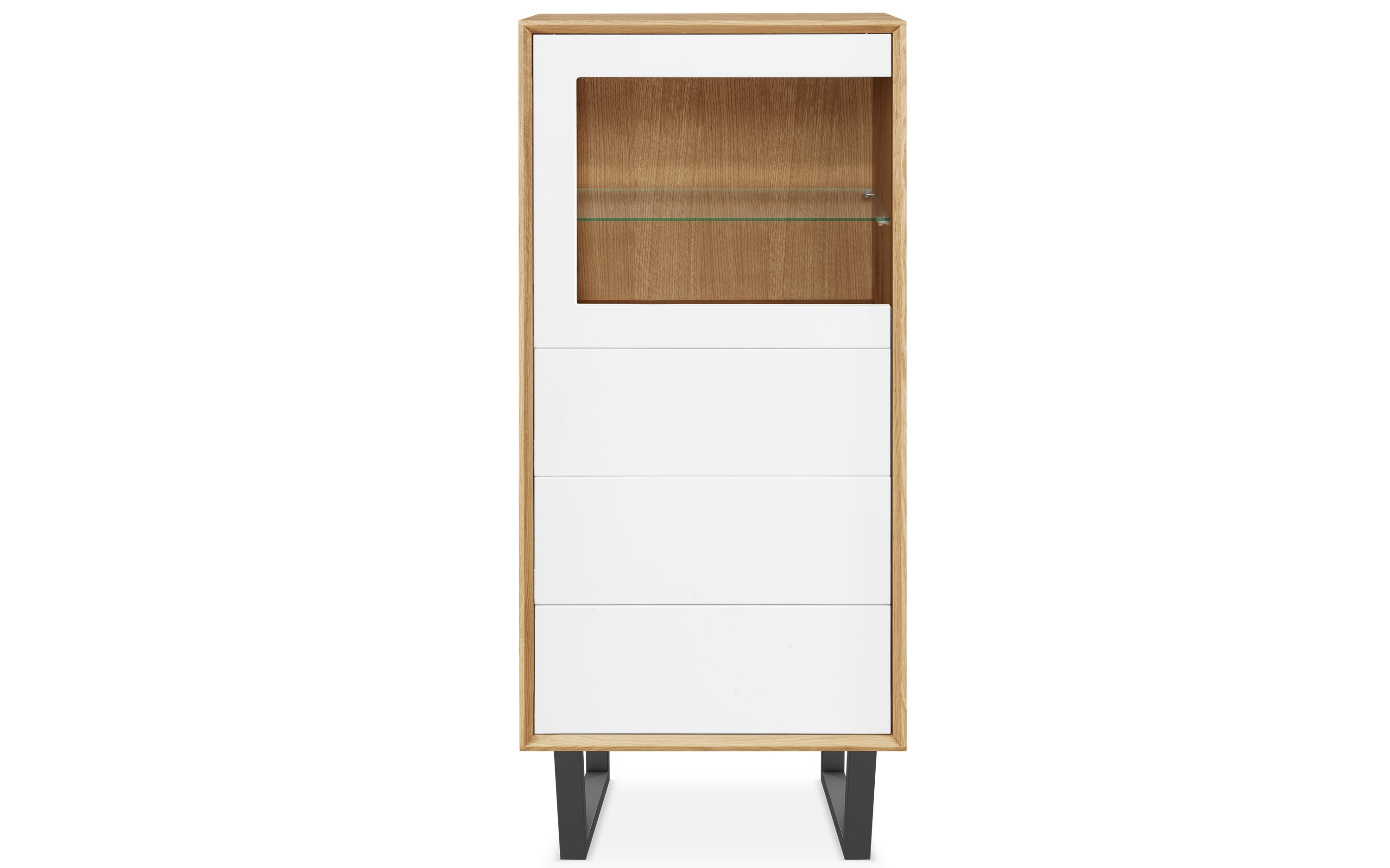 Clemence Richard | Modena | 3 Drawer Glass Door Display Cabinet with White Wash 3-Door 3-Drawer Sideboards (Image 5 of 30)