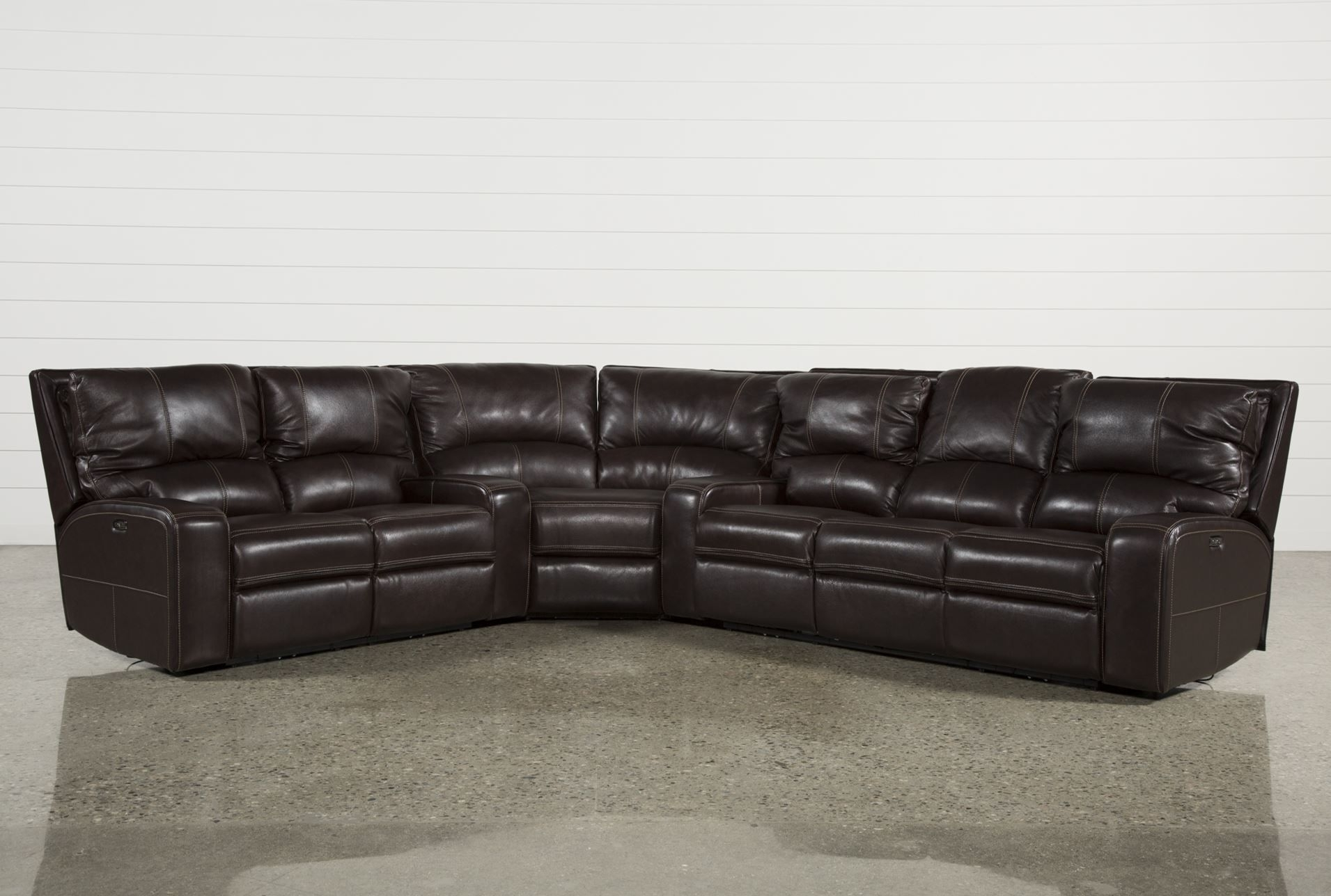 Clyde Dark Brown 3 Piece Power Reclining Sectional W/pwr Hdt & Usb pertaining to Norfolk Grey 3 Piece Sectionals With Laf Chaise (Image 5 of 30)