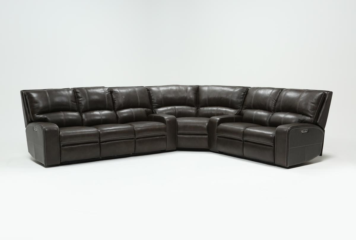 Popular Photo of Clyde Grey Leather 3 Piece Power Reclining Sectionals With Pwr Hdrst & Usb