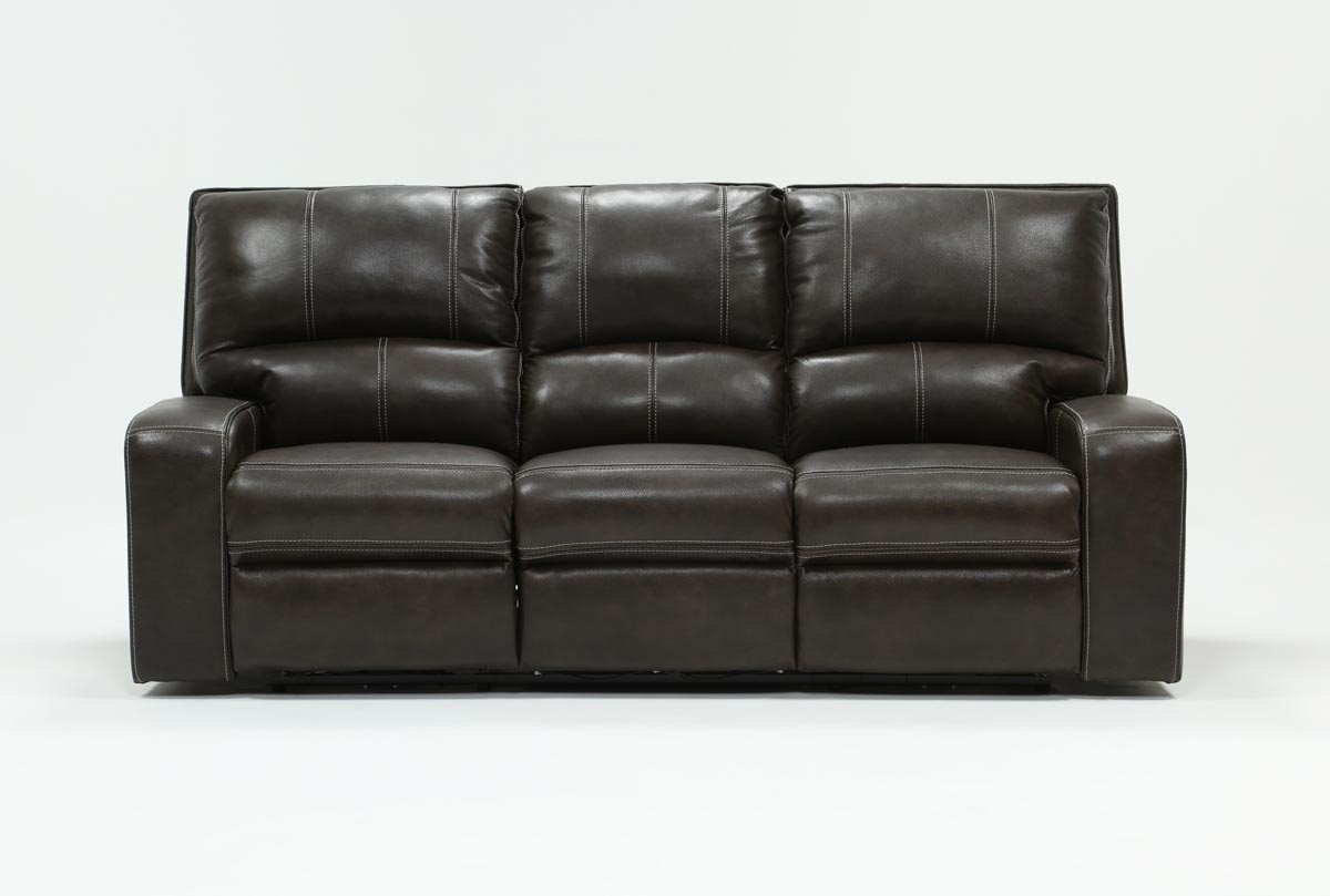 Clyde Grey Leather Power Reclining Sofa W/power Headrest & Usb with Marius Dark Grey 3 Piece Sectionals (Image 4 of 30)