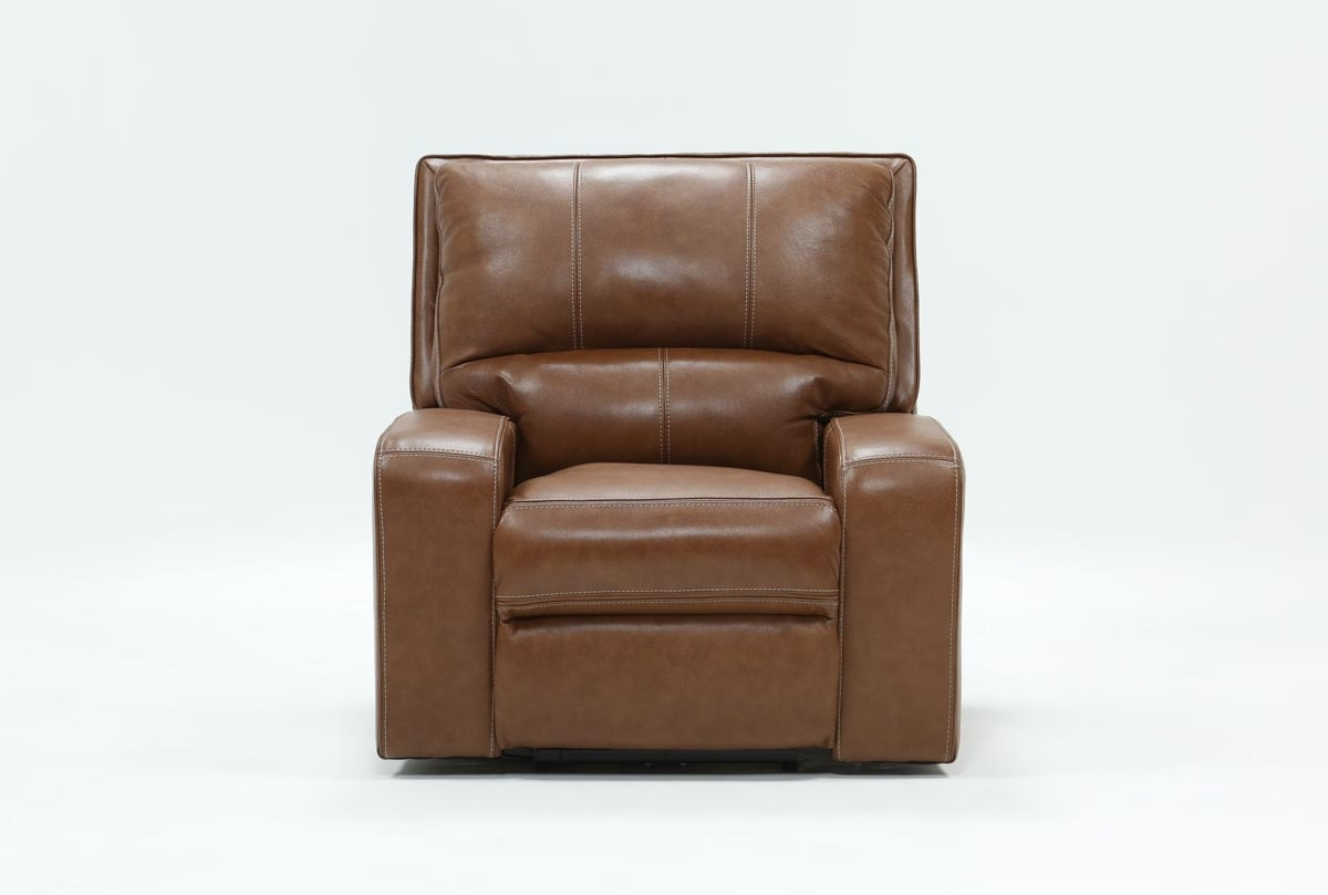 Clyde Saddle Leather Power Recliner W/power Headrest And Usb with Clyde Saddle 3 Piece Power Reclining Sectionals With Power Headrest & Usb (Image 12 of 30)