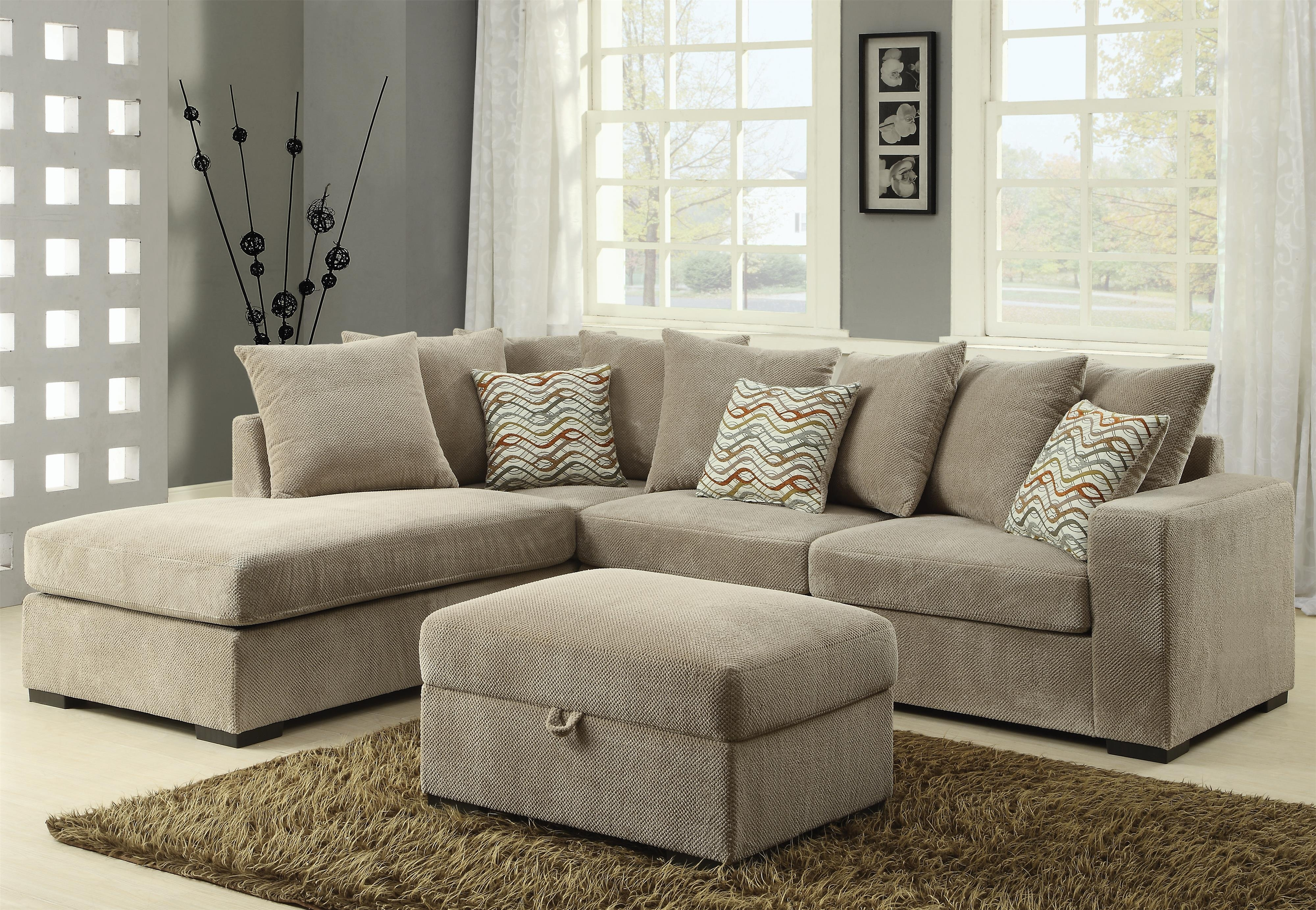 Coaster Olson 500044 Contemporary Reversible Sectional With Chaise With Regard To Josephine 2 Piece Sectionals With Laf Sofa (View 15 of 30)