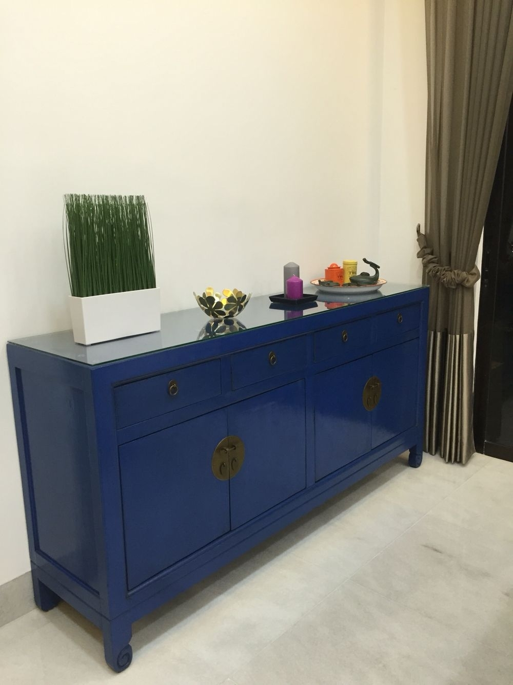 Cobalt/ Royal Blue Sideboard With Antique Chinese Elements For My in Blue Stone Light Rustic Black Sideboards (Image 13 of 30)