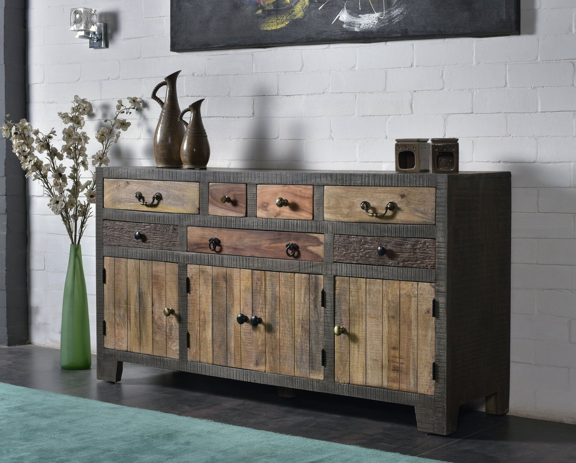 Cogbill 7 Drawer 4 Door Sideboard | Products | Pinterest | Drawers for Reclaimed Pine & Iron 4-Door Sideboards (Image 8 of 30)