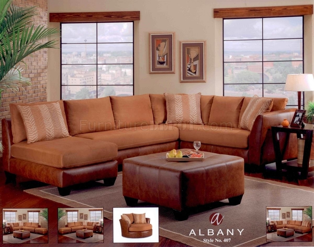 Cognac Leather Sectional Sofa | Baci Living Room with Tenny Cognac 2 Piece Left Facing Chaise Sectionals With 2 Headrest (Image 8 of 30)