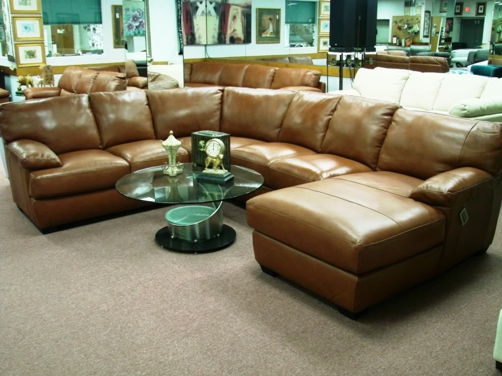 Cognac Leather Sectional Sofa | Baci Living Room with Tenny Cognac 2 Piece Left Facing Chaise Sectionals With 2 Headrest (Image 7 of 30)
