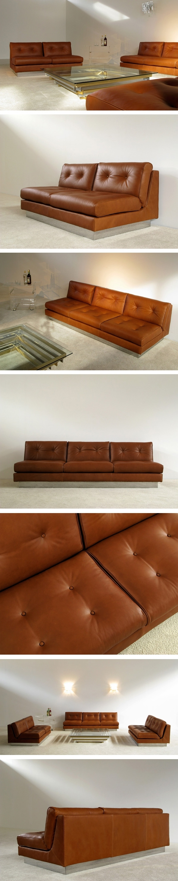Cognac Sofa. Cognac Color Leather Sofa Vintage Danish For Sale At in Tenny Cognac 2 Piece Right Facing Chaise Sectionals With 2 Headrest (Image 10 of 30)