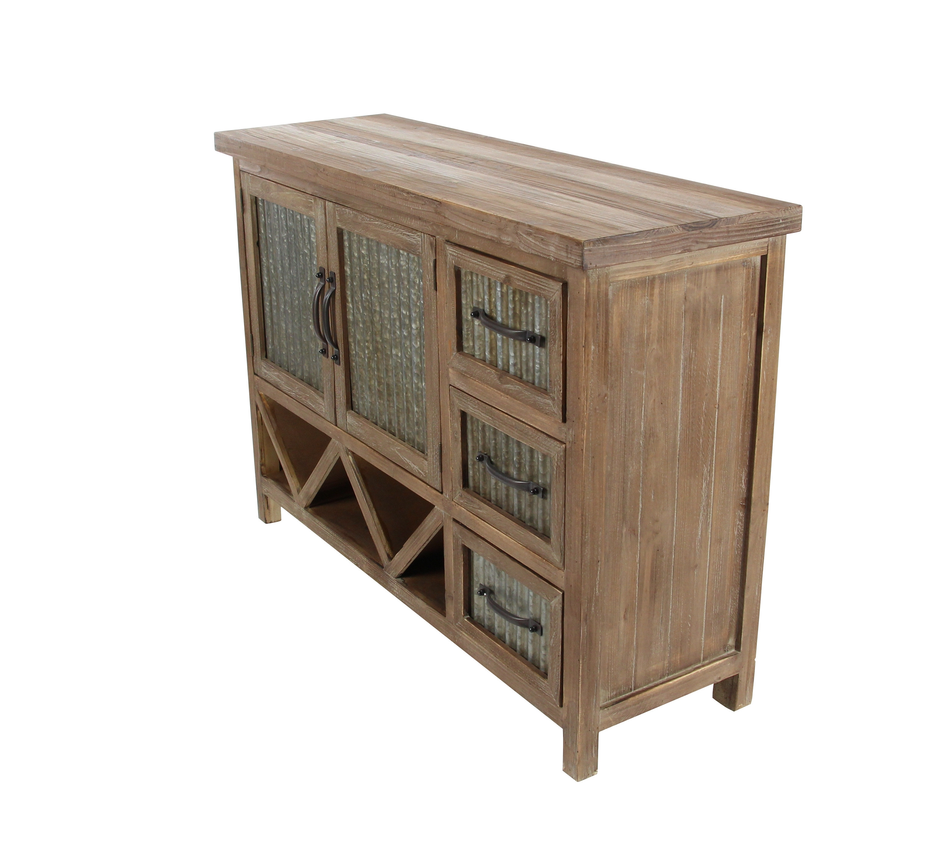 Cole & Grey 3 Drawer 2 Door Accent Cabinet & Reviews | Wayfair with regard to Corrugated Natural 6-Door Sideboards (Image 5 of 30)