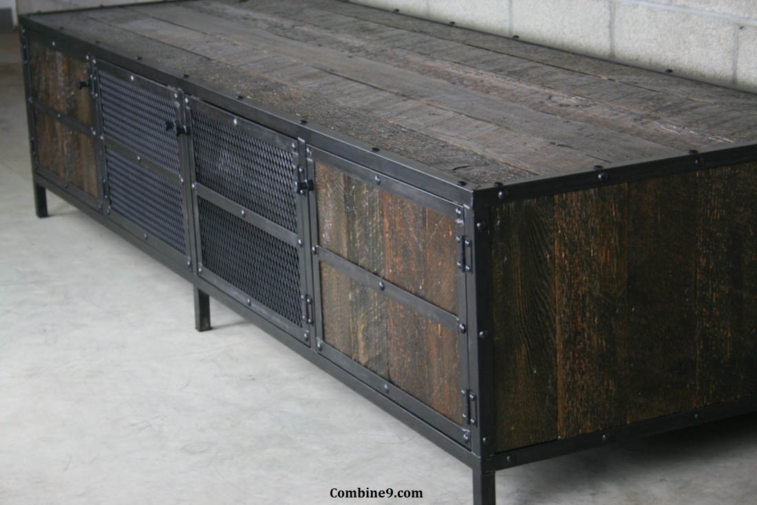 Combine 9 | Industrial Furniture – Reclaimed Wood Media Console inside Metal Framed Reclaimed Wood Sideboards (Image 9 of 30)
