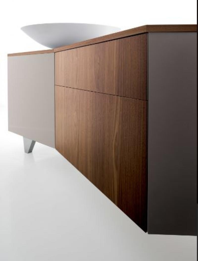 Compar, Vanity, Cream Lacquer/ Wood Veneer Sideboard |Trendy regarding Walnut Finish Contempo Sideboards (Image 7 of 30)