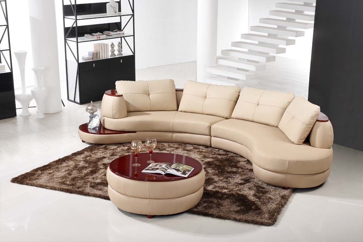 Contemporary Beige Leather Sectional Curved Sofa With Round Modern with Burton Leather 3 Piece Sectionals With Ottoman (Image 7 of 30)