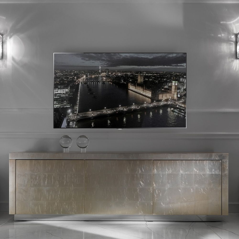 Contemporary Champagne Silver Leaf Sideboard Tv Unit | Love Things pertaining to Gunmetal Perforated Brass Sideboards (Image 18 of 30)