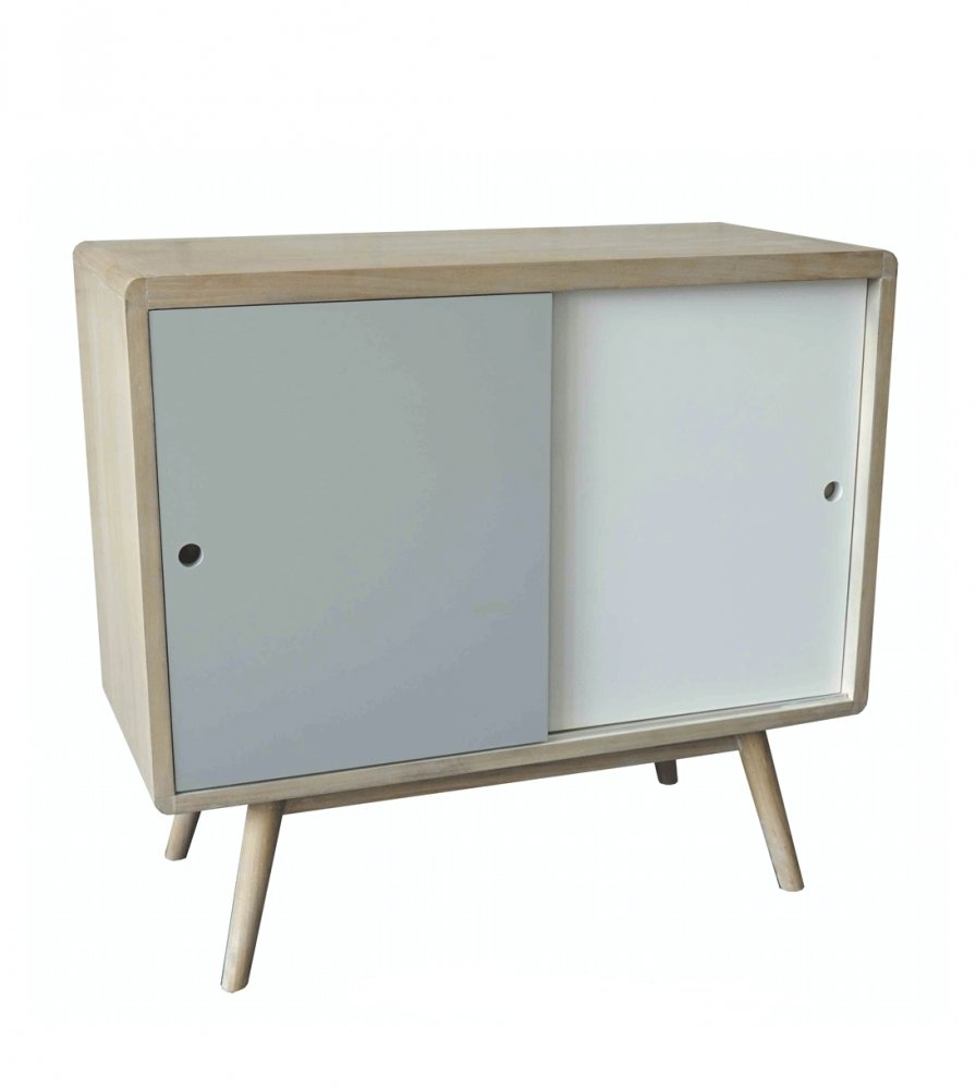 Contemporary Retro Style Sideboard Featuring 2 Sliding Doors Storage with regard to Reclaimed Pine Turquoise 4-Door Sideboards (Image 7 of 30)