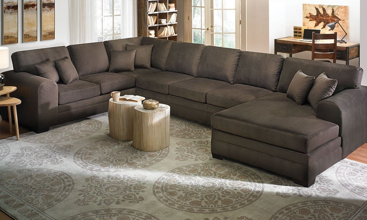 Contemporary Room-Size Chaise Sectional | The Dump Luxe Furniture Outlet intended for Norfolk Chocolate 6 Piece Sectionals With Raf Chaise (Image 6 of 30)