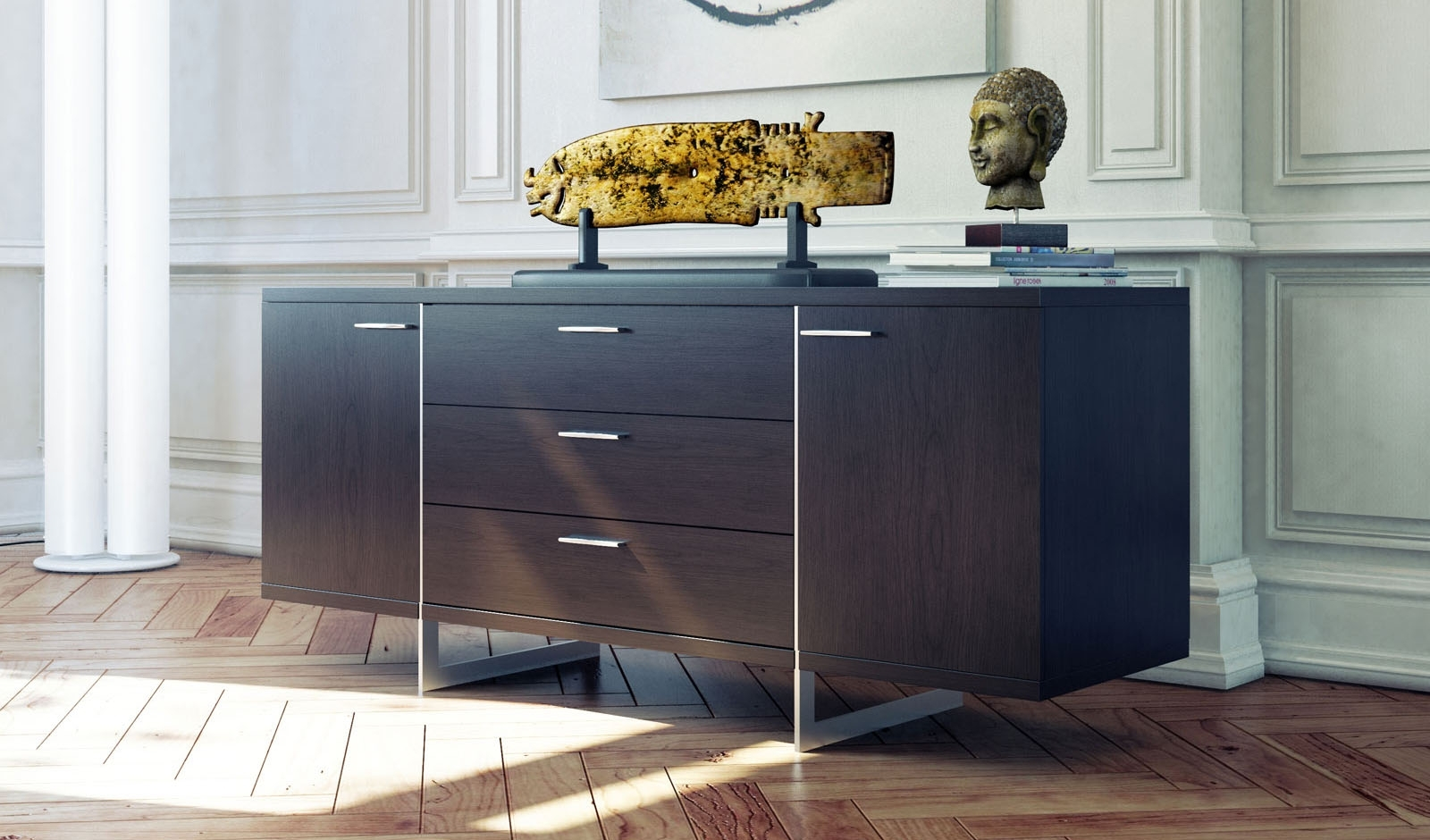 Contemporary Sideboard Buffet With Three Storage Drawers Tulsa within Walnut Finish Contempo Sideboards (Image 14 of 30)