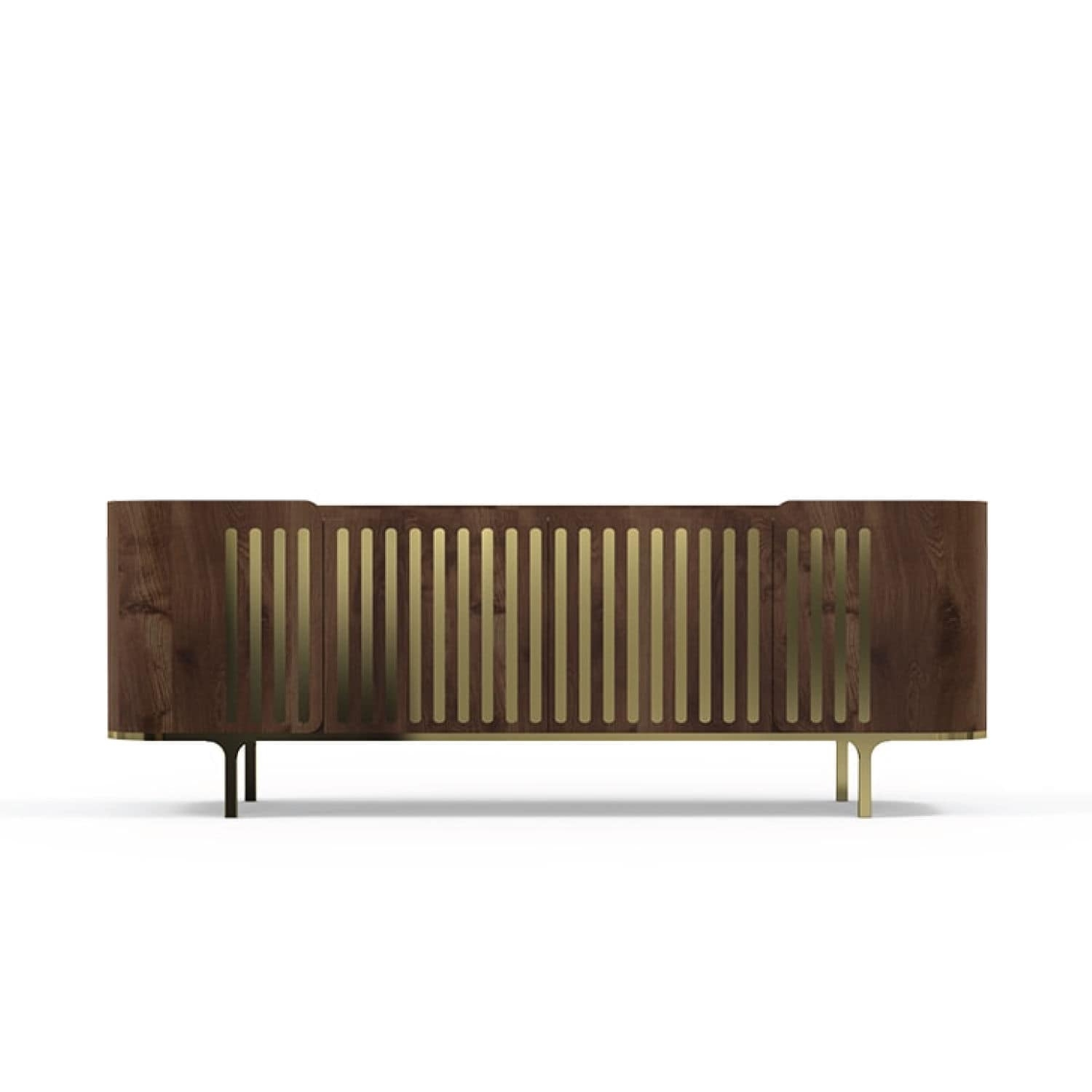 Contemporary Sideboard / Oak / Walnut / Polished Brass - Anthony intended for Aged Brass Sideboards (Image 5 of 30)