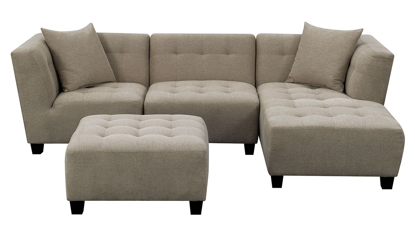 Cooper Oatmeal 3 Piece Sectional - Home Zone Furniture | Living Room in Jobs Oat 2 Piece Sectionals With Left Facing Chaise (Image 6 of 30)