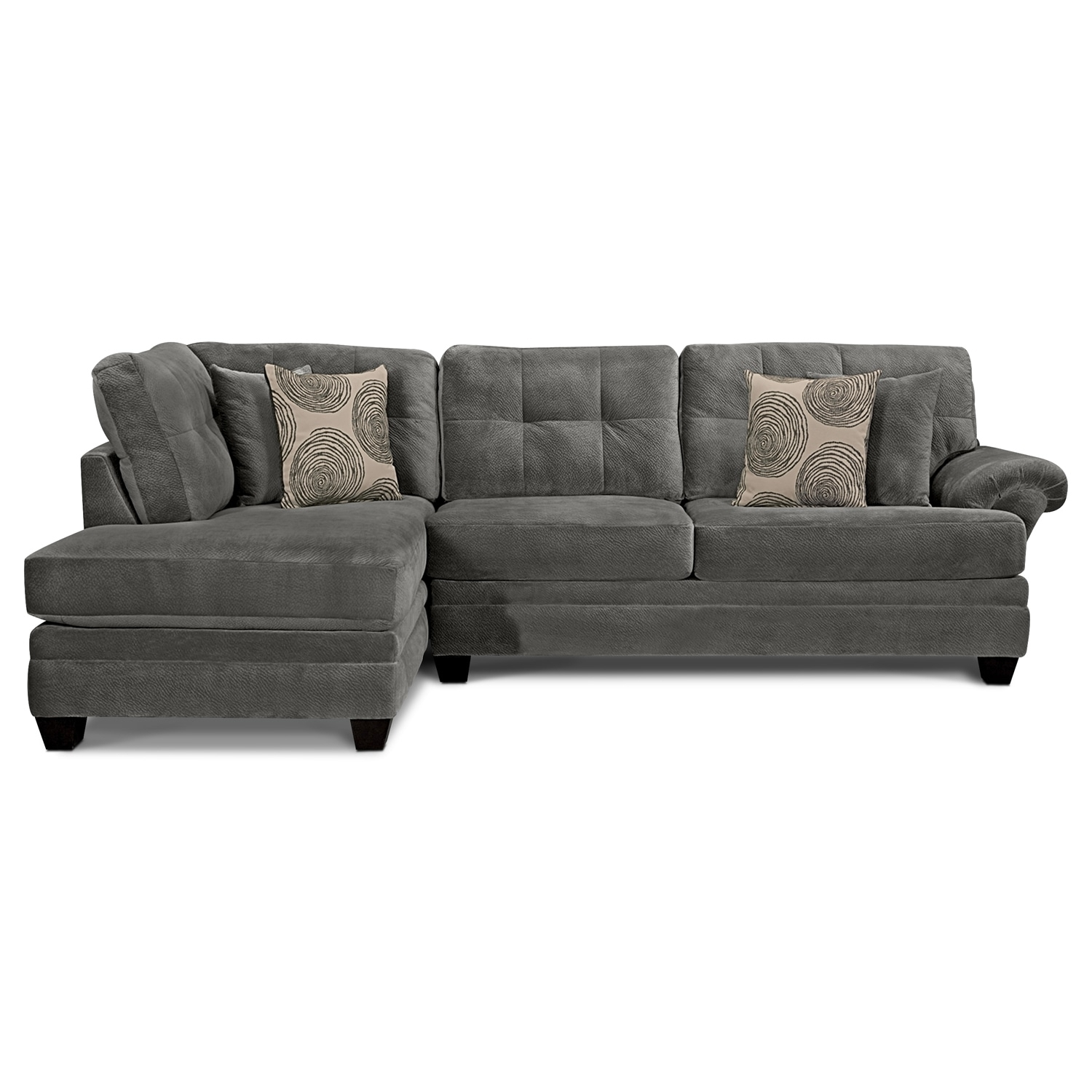 Cordelle 2-Piece Sectional With Left-Facing Chaise - Gray | Value pertaining to Cosmos Grey 2 Piece Sectionals With Laf Chaise (Image 7 of 30)