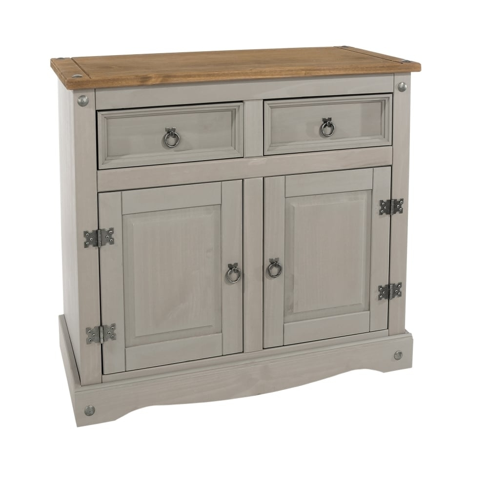 Core Products Corona Grey Washed Effect Pine Sideboard | Leader Stores With Regard To 3 Drawer/2 Door White Wash Sideboards (View 6 of 30)