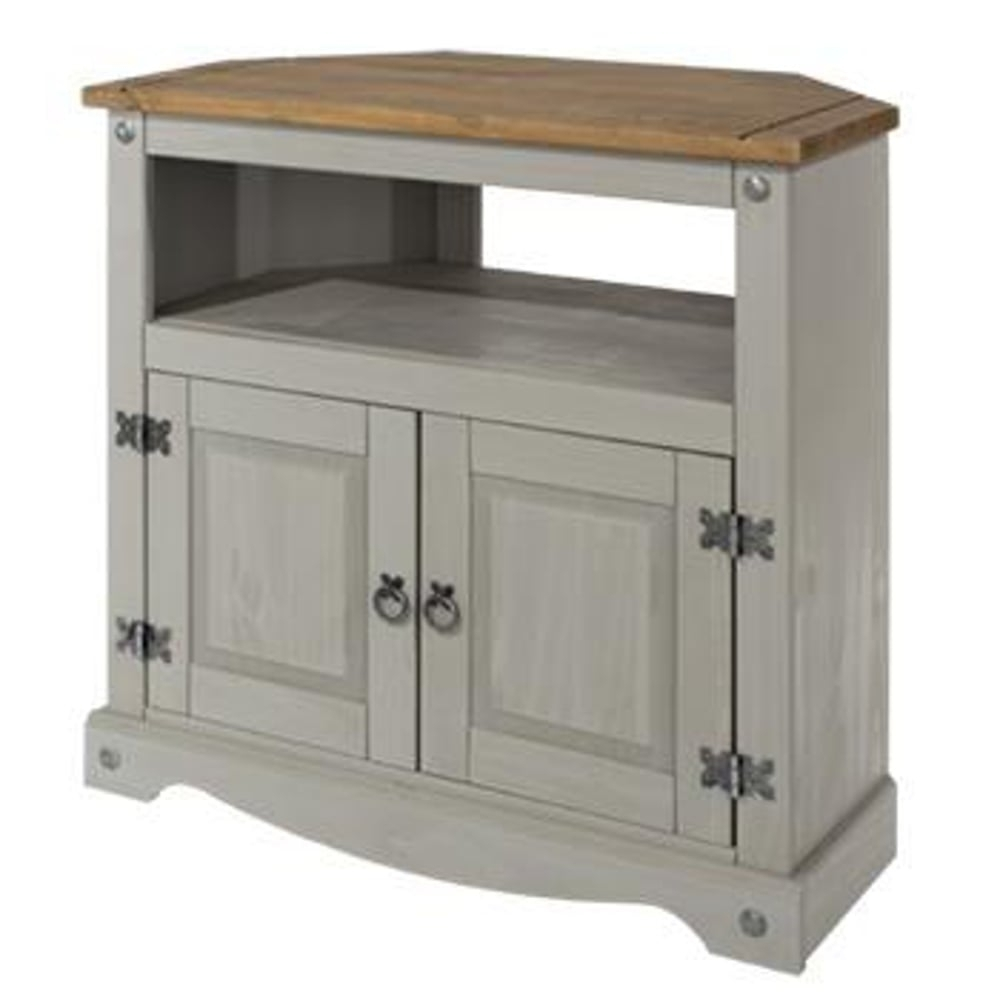 Core Products Corona Grey Washed Effect Pine Tv Unit | Leader Stores throughout 3-Drawer/2-Door White Wash Sideboards (Image 7 of 30)
