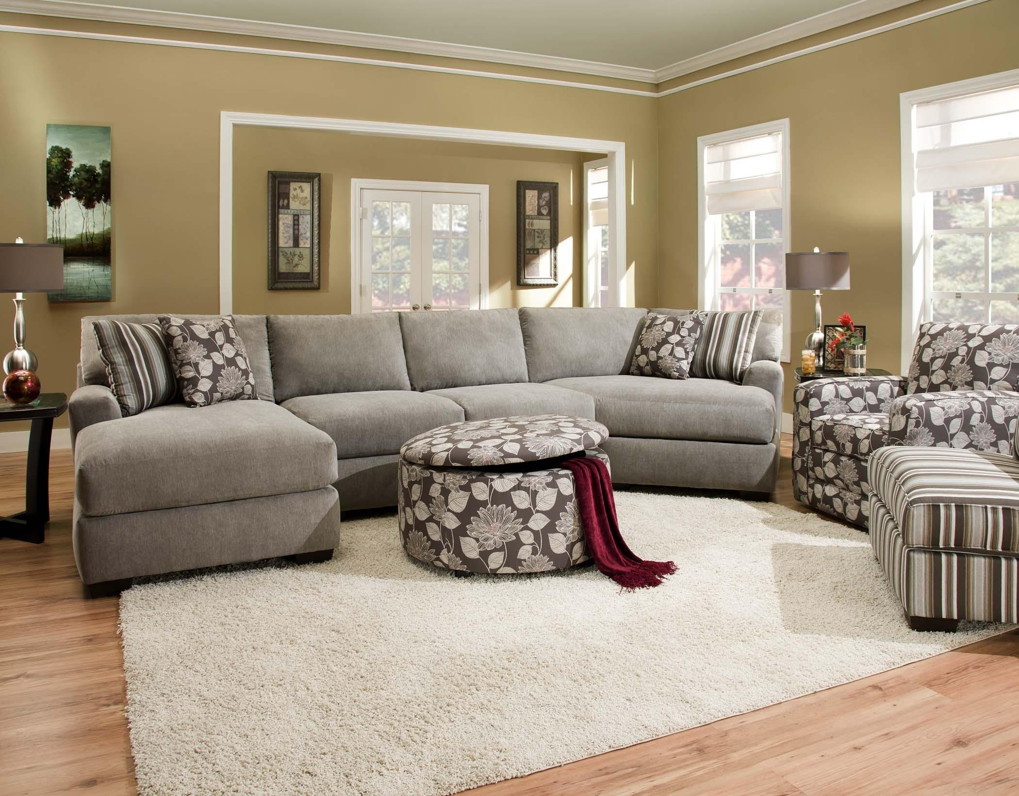 Corinthian 29A0 Sectional Sofa With 4 Seats | Standard Furniture with Josephine 2 Piece Sectionals With Laf Sofa (Image 7 of 30)