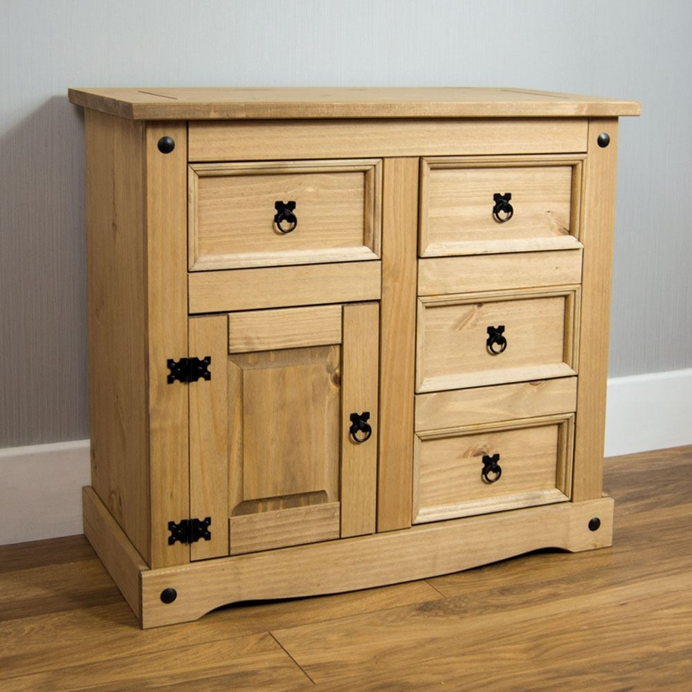 Corona Small Sideboard 1 Door 4 Drawer Mexican Solid Waxed Pine intended for Iron Pine Sideboards (Image 11 of 30)