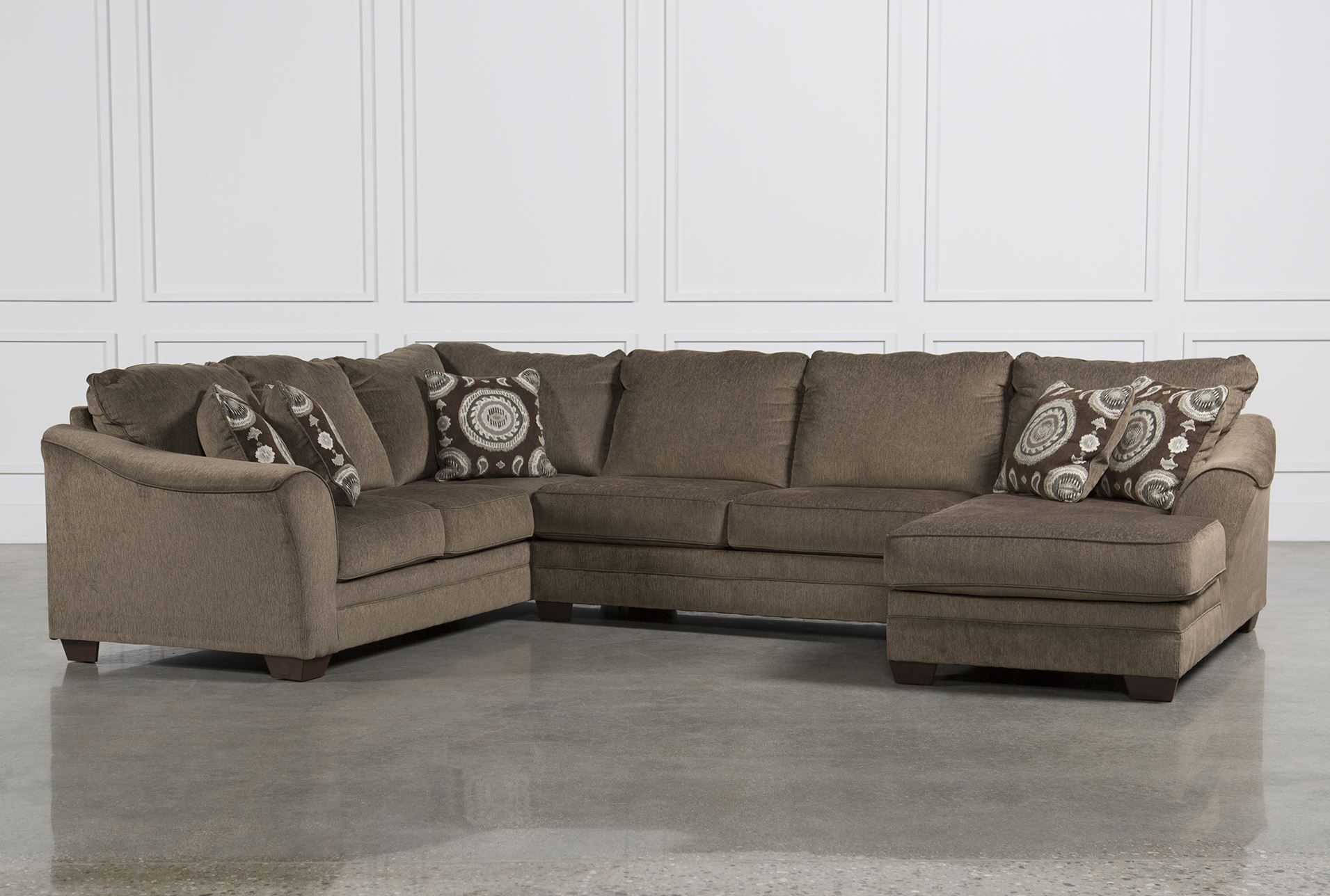 Cosmo Marble 3 Piece Sectional W/raf Chaise | Family Room regarding Sierra Foam Ii 3 Piece Sectionals (Image 10 of 30)