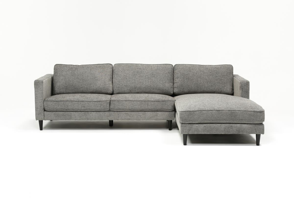 Cosmos Grey 2 Piece Sectional W/raf Chaise | Living Spaces for Aquarius Light Grey 2 Piece Sectionals With Laf Chaise (Image 15 of 30)