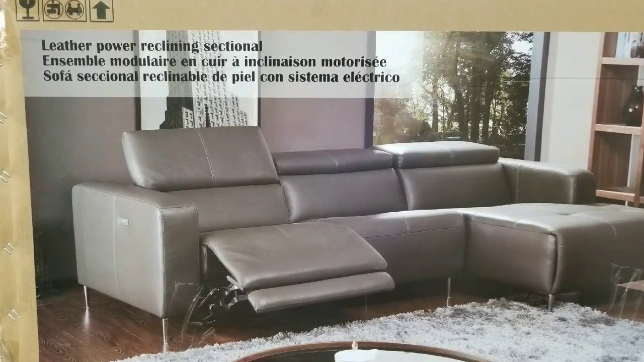 Costco! Leather Power Reclining Sectional (Modern) $1,399!!! - Youtube within Kristen Silver Grey 6 Piece Power Reclining Sectionals (Image 4 of 30)