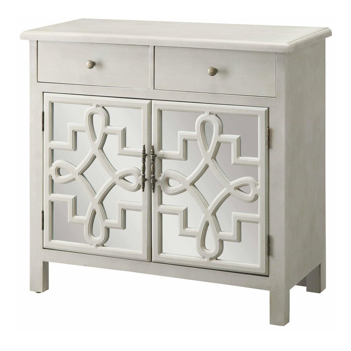 Coventry 2 Door Antique White And Mirrored Cabinet | Home inside Aged Mirrored 2 Door Sideboards (Image 11 of 30)