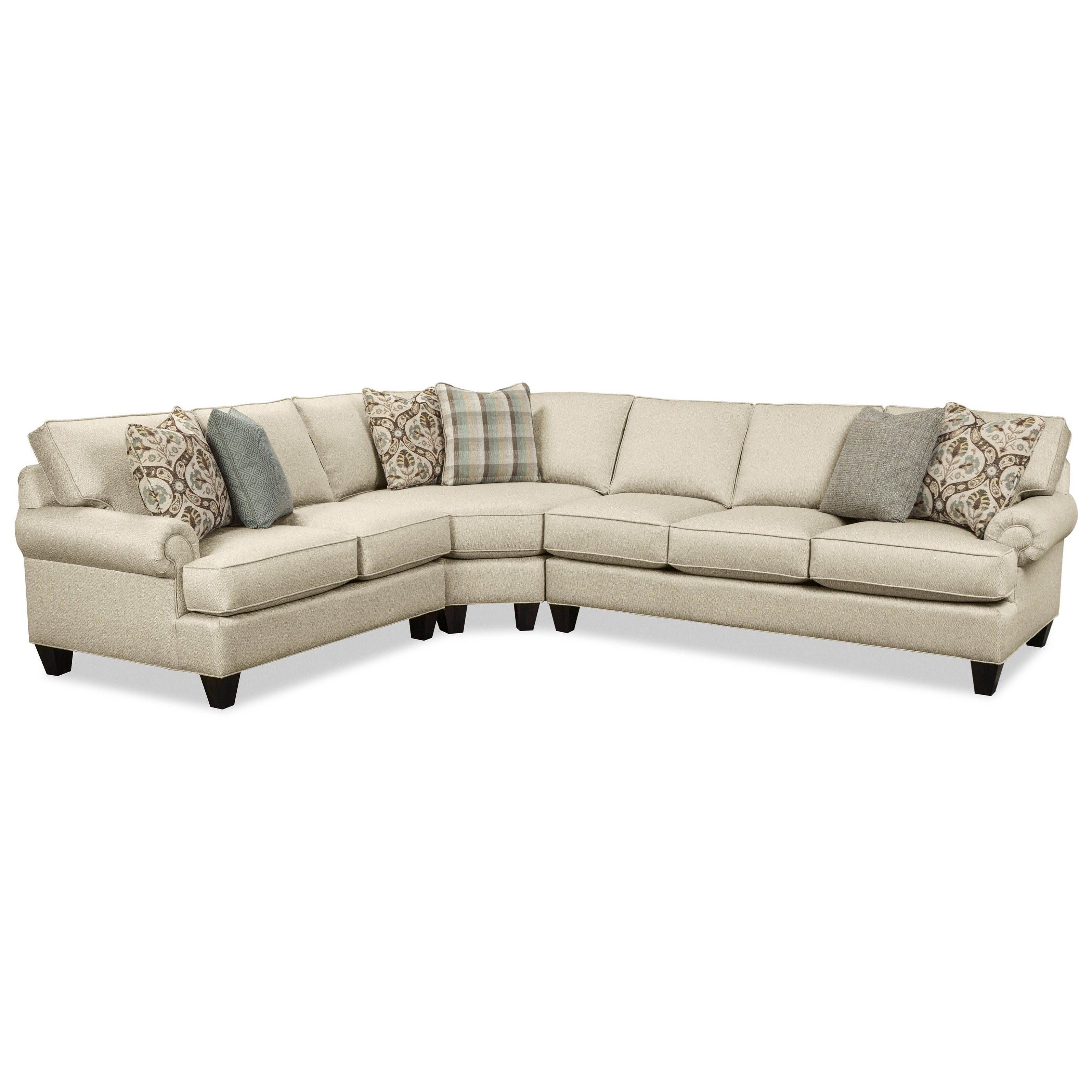 Craftmaster C9 Custom Collection Customizable Three Piece Sectional with Tatum Dark Grey 2 Piece Sectionals With Raf Chaise (Image 1 of 30)
