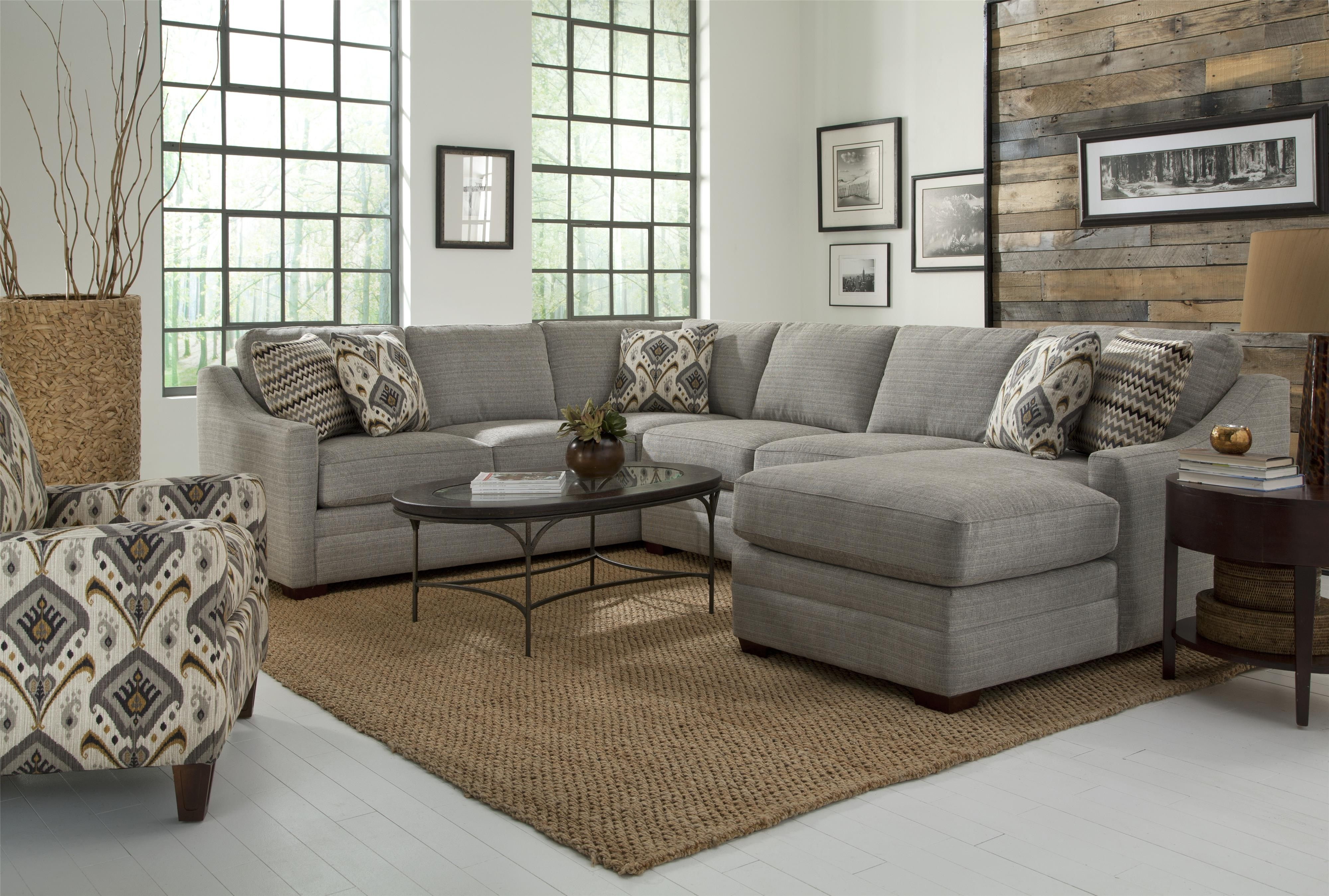 Craftmaster F9 Custom Collection Customizable Four Piece Sectional for Avery 2 Piece Sectionals With Raf Armless Chaise (Image 12 of 30)