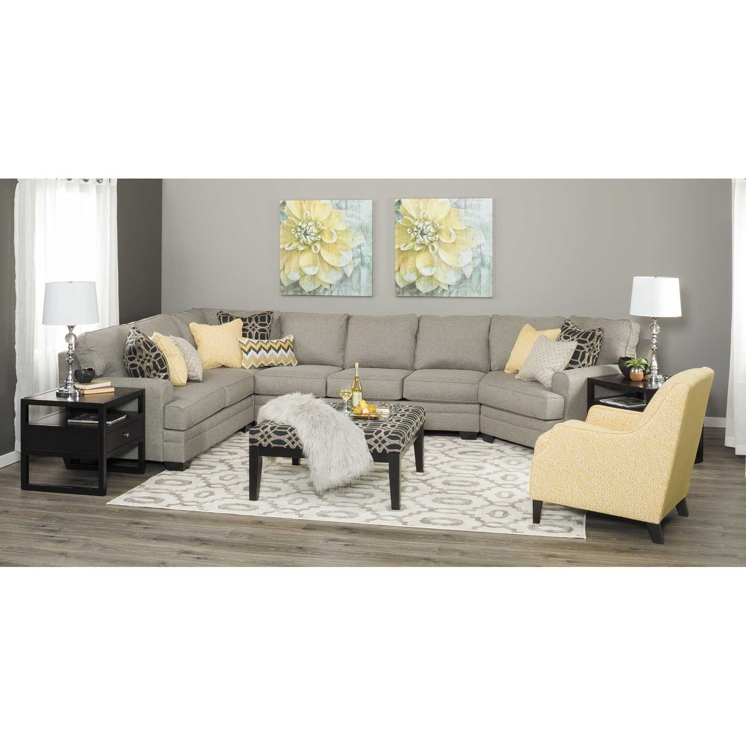 Cresson 4 Piece Pewter Sectional With Laf Chaise | 5490716/99/77/56 intended for Alder 4 Piece Sectionals (Image 12 of 30)