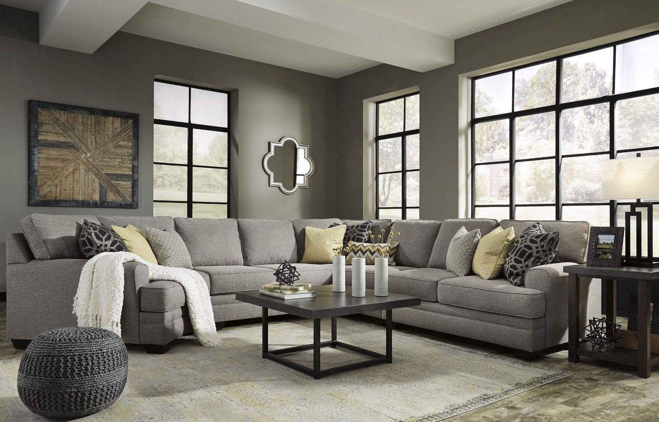 Cresson Pewter Laf Cuddler Sectional From Ashley | Coleman Furniture in Aspen 2 Piece Sleeper Sectionals With Laf Chaise (Image 9 of 30)