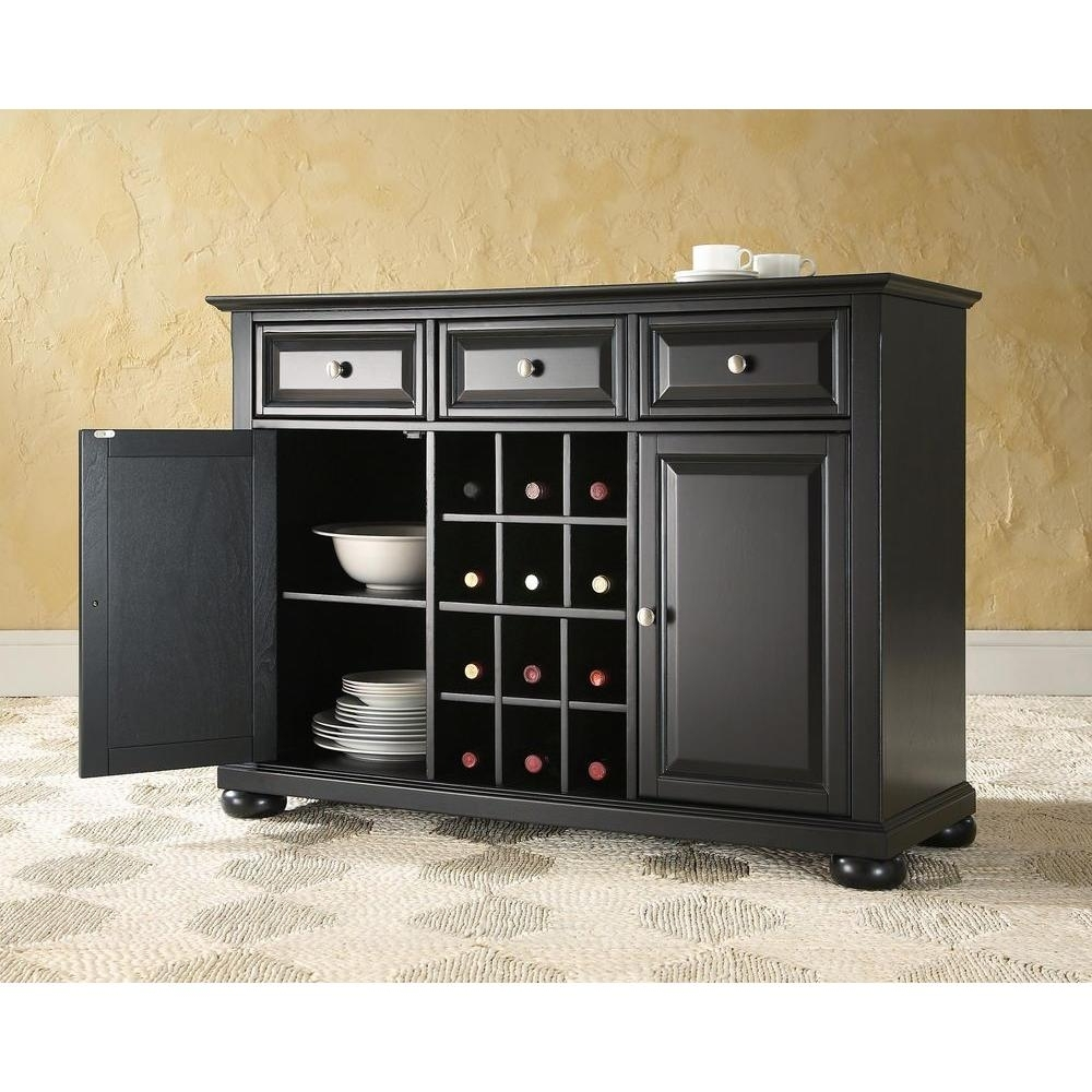 Crosley Alexandria Black Buffet-Kf42001Abk - The Home Depot in Amos Buffet Sideboards (Image 12 of 30)