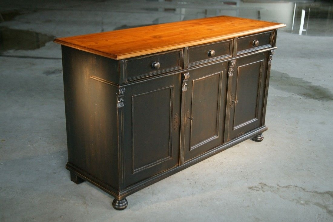 Custom Made Black Kitchen Island From Reclaimed Pine Sideboard throughout Reclaimed Pine 4-Door Sideboards (Image 13 of 30)