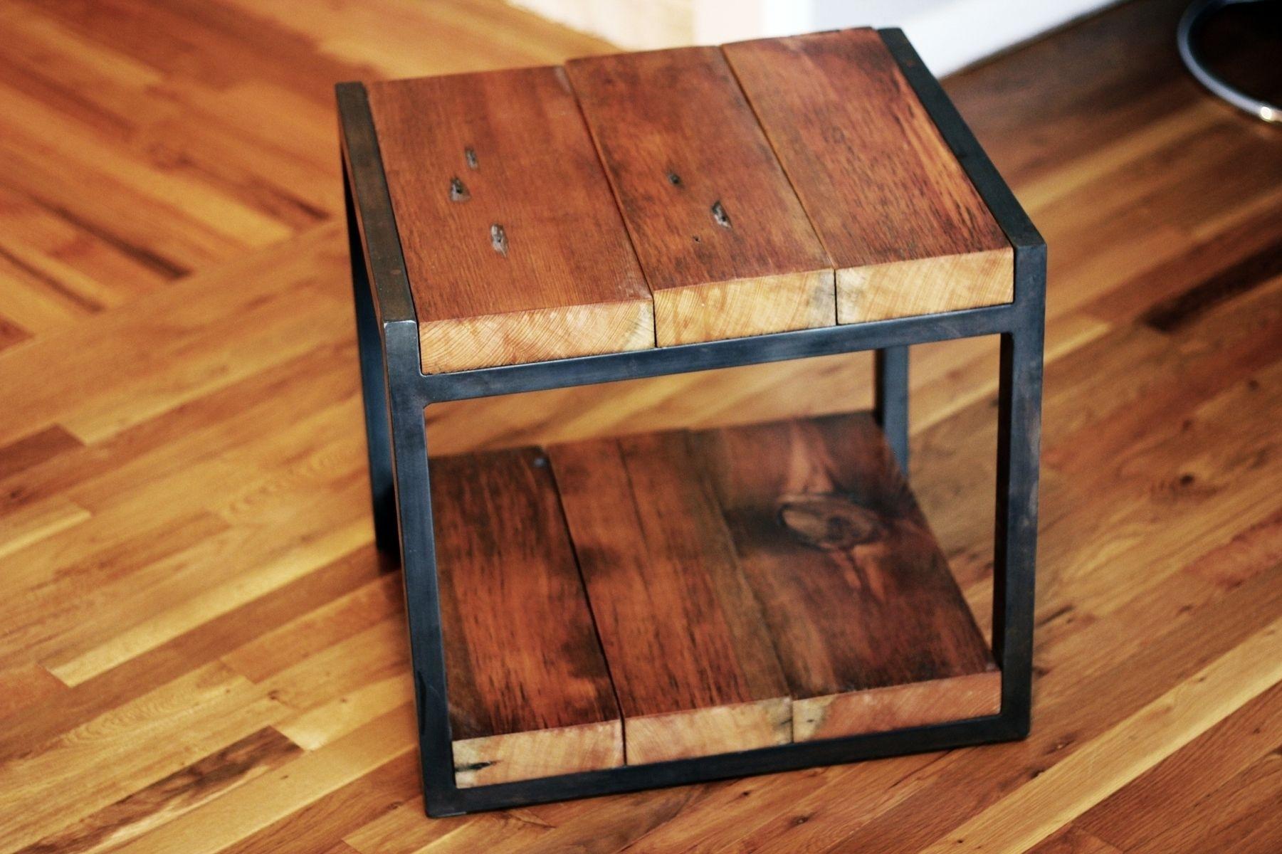 Custom Reclaimed Wood, Steel Side Tablebarreto Studios intended for Metal Framed Reclaimed Wood Sideboards (Image 10 of 30)