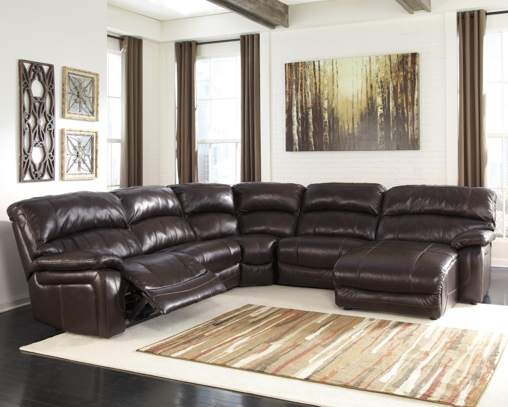 Damacio - Dark Brown - 6 Pc. Raf Press Back Chaise Sectional intended for Aspen 2 Piece Sectionals With Laf Chaise (Image 13 of 30)