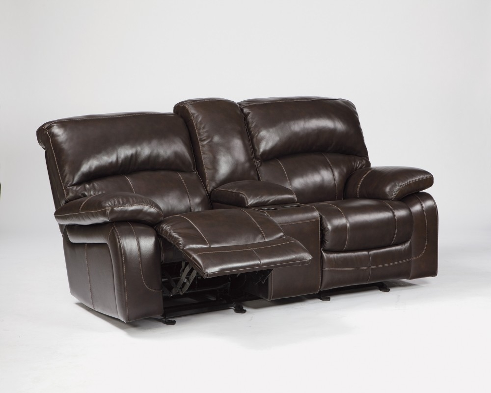 Damacio - Dark Brown - Glider Rec Loveseat W/console | U9820043 with Lucy Grey 2 Piece Sleeper Sectionals With Raf Chaise (Image 9 of 30)