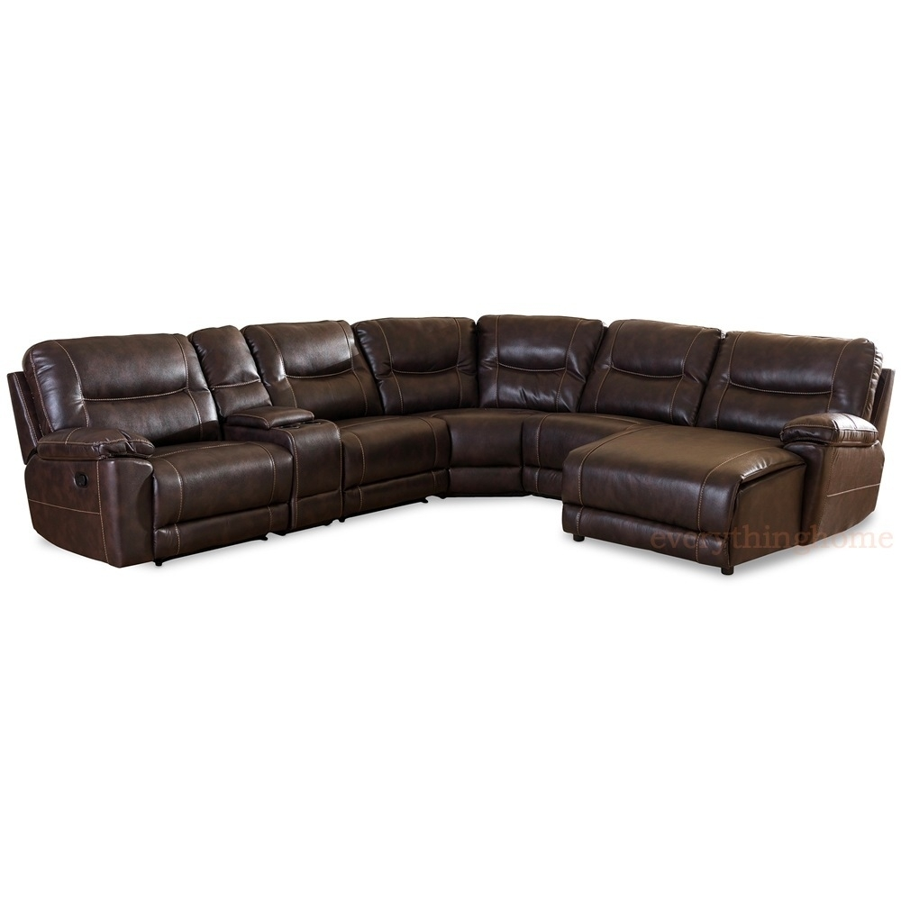 Dark Brown Bonded Leather 6-Piece Theater Sectional Sofa Recliner in Evan 2 Piece Sectionals With Raf Chaise (Image 11 of 30)