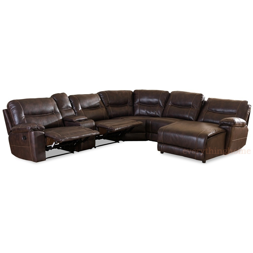 Dark Brown Bonded Leather 6-Piece Theater Sectional Sofa Recliner intended for Evan 2 Piece Sectionals With Raf Chaise (Image 11 of 30)
