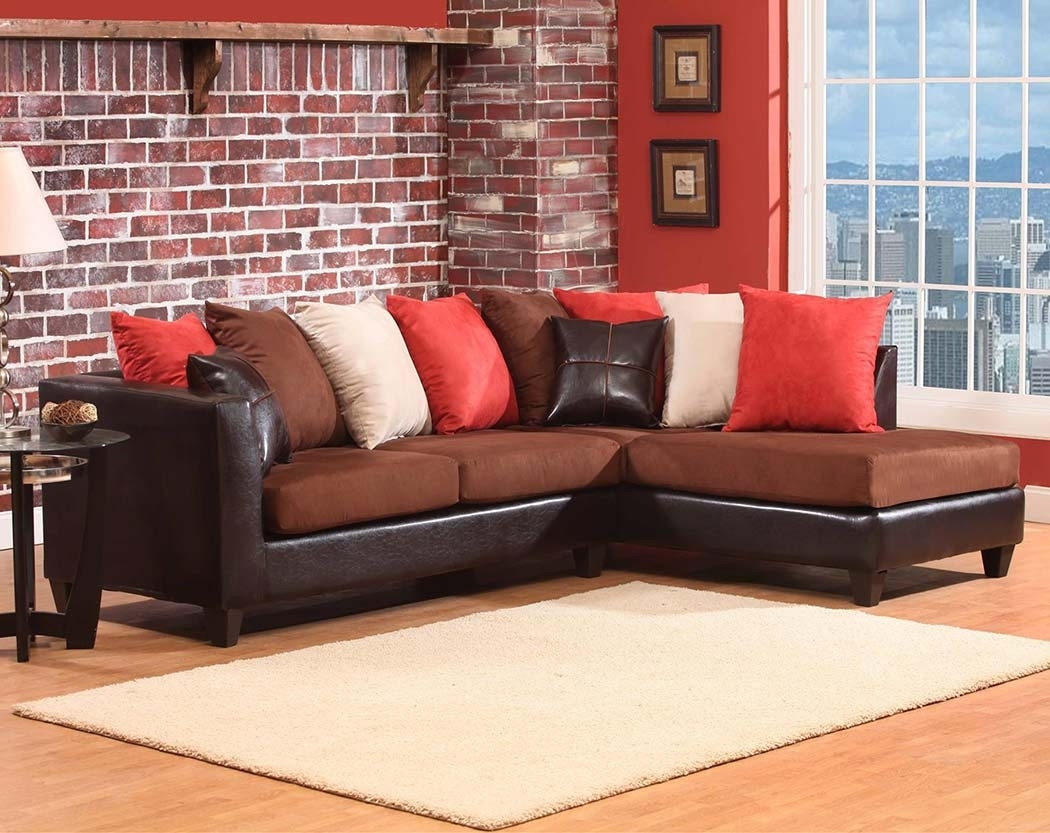 Dark Brown Chocoloate Couch, 2 Pc. Sectional Sofa | American Freight for Sierra Foam Ii 3 Piece Sectionals (Image 12 of 30)