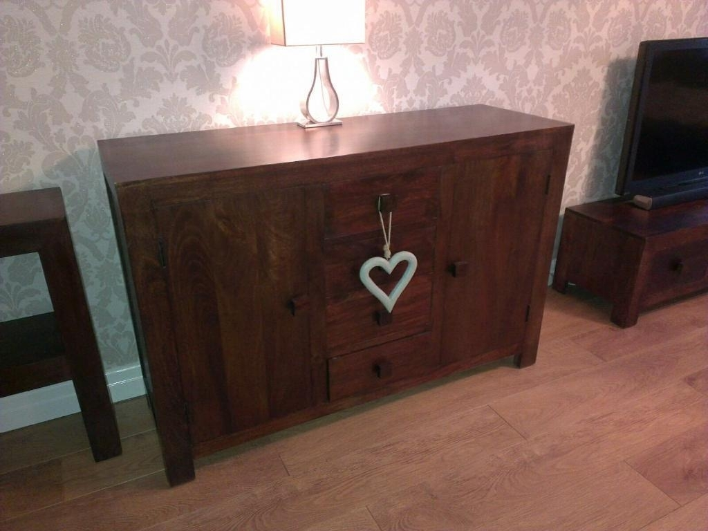 Dark Mango Wood Sideboard | In Astley, Manchester | Gumtree within Dark Smoked Oak With White Marble Top Sideboards (Image 8 of 30)