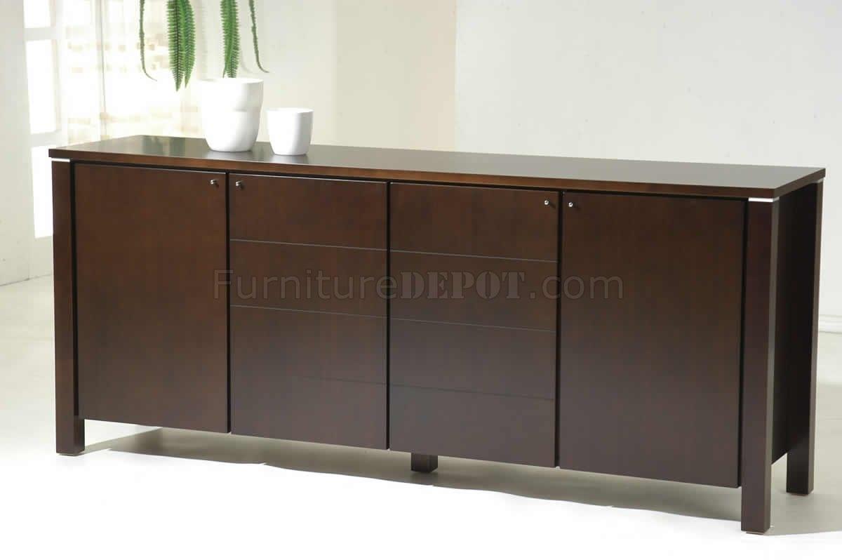 Dark Walnut Finish Modern Four Door Buffet in Walnut Finish 4-Door Sideboards (Image 7 of 30)
