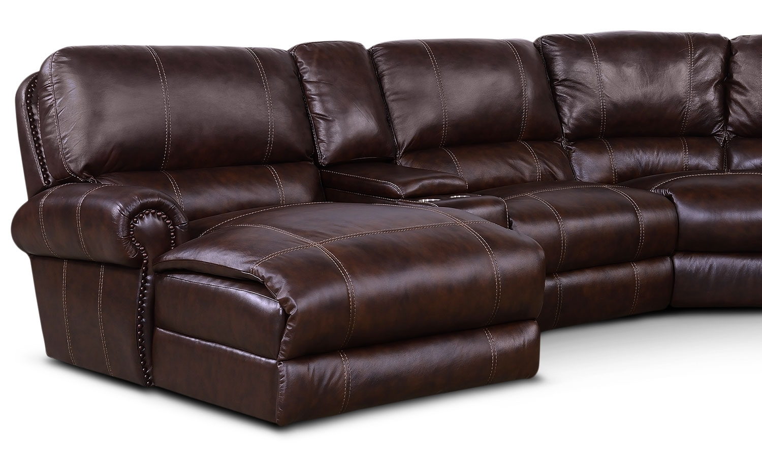 Dartmouth 6-Piece Power Reclining Sectional W/ Left-Facing Chaise in Norfolk Chocolate 6 Piece Sectionals (Image 9 of 30)