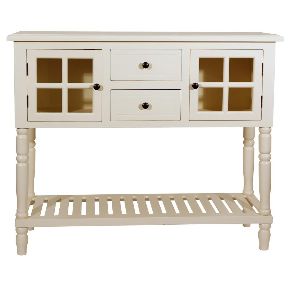 Decor Therapy Morgan Antique Whitel 2-Door Console Table-Fr8444 pertaining to Antique Walnut Finish 2-Door/4-Drawer Sideboards (Image 9 of 30)